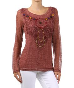 Take a look at this Rust Embroidered Sheer-Sleeve Top by Farinelli on #zulily today!
