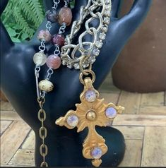 Artisan Vintage Opal Cross Two Strand Stone Bead Statement Necklace Turquoise Flowers, Vintage Turquoise, Beaded Statement Necklace, Strand Necklace, Stone Beads, 925 Silver, Hand Carved, Vintage Inspired, Opal
