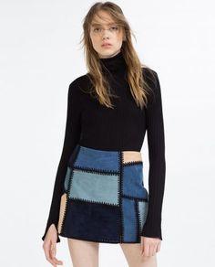 Zara Leather Patchwork Skirt