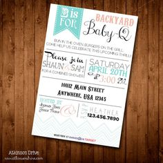 Printable Backyard BBQ Couple's Baby Shower Invitation