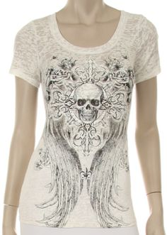 Burn Out Skull Tee $33.99 skull and wing print on an ivory tee shirt. www.shopftgs.com
