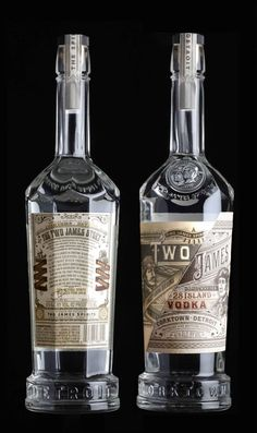 Two James Gin and Vodka. By Stanger & Stanger Bottle Packaging, Cool Packaging, Bottle Labels, Beverage Packaging, Brand Packaging, Packaging Design, Packaging Ideas, Label Design, Gin Bottles