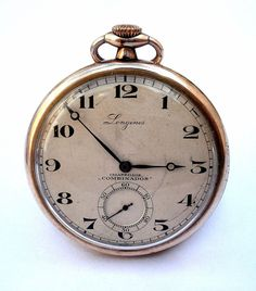 Antique Original Watch Pocket Swiss LONGINES Open Face Art Deco Calibee  19.79N Case Micron Gold 1925c 50mm Working 3e414c9423