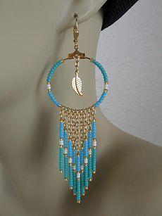 Seed Bead Hoop náušnice Chain - Aqua / Turquoise
