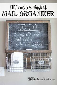 DIY Locker Basket Mail Organizer | Bless'er House - Great way to free up counter space! #organization #mailbasket