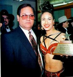 Selena w/her dad. Tejano music awards.