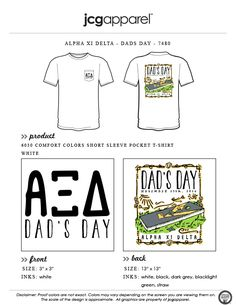 JCG Apparel : Custom Printed Apparel : Alpha Xi Delta Dad's Day T-Shirt #alphaxidelta #dadsday #parentsweekend #cornhole #ringer #tailgate