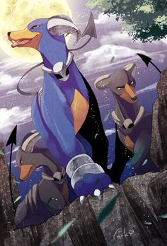 Houdoom in regular and shiny forms. #Pokemon #Houndoom #ShinyPokemon