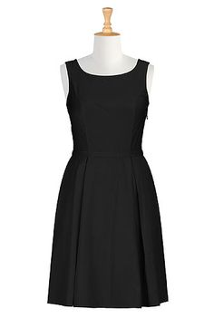 I <3 this Retro style poplin dress from eShakti  -  classic, conservative, basic, black, box pleats, check out the entire site, nice clothes with tailoring available, decent prices, fast service, very large size range.        lj