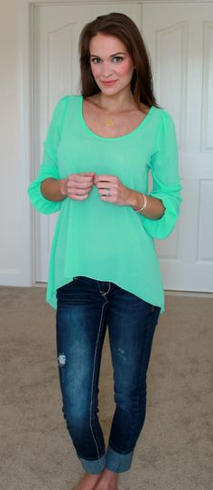 Flowy Mint Top with Denim Capris