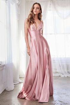 Prom 268 Rose Plunging Satin Gown with Slit front view. Satin Gown, Satin Dresses, Chiffon Dresses, Fall Dresses, Long Dresses, Formal Dresses, Long Satin Dress, Slit Dress, V Neck Dress