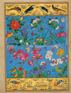 """the-seraphic-book-of-eloy: """" Bird and Flower - Mohammad Yusuf, century """" Mohammad Yusof: The Flower and the Bird, from an exhibition of Persian miniature paintings organized in 2005 by the Tehran. Islamic World, Islamic Art, Iranian Art, Art Et Illustration, Illustrations, Museum Of Contemporary Art, 17th Century, Art And Architecture, Folk Art"""
