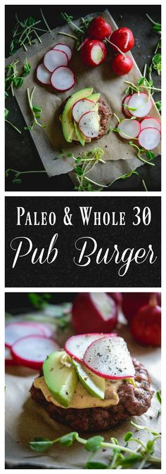 This 10 minute paleo pub burger is going to make putting dinner together a breeze. Simple and quick to make with only a few ingredients. It's paleo and whole 30 compliant too. #paleo, #whole30, #paleopubburger, #pubburger, #burger, #glutenfree, #dairyfree, #dinner