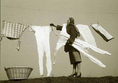 Frozen longjohns lol. My Mom made me hang clothes out long ago. We had a dryer!