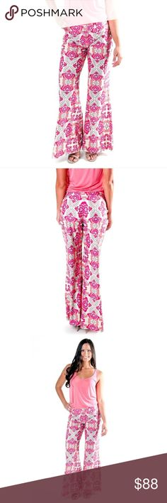 boho summer pants ,  50+ UPF cooling fabric Feel the boho-chic vibes with this flared leg pant.  Mid-waist, easy to pull on with an elastic waistband.   Made with our comfort stretch 50+ UPF and cooling fabric ideal for the summer heat.  Lounge around Or where them out with the girls! All For Color Pants