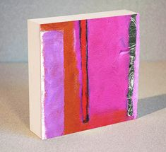 Abstract Painting On Wood Block Featuring Red Pink by AbbyCreek