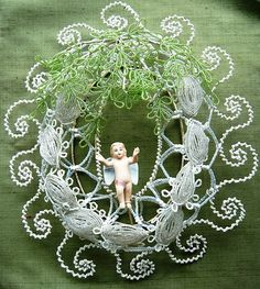 Beaded Immortelles Flower Wreath with Bisque Angel…white green Wire Flowers, Beaded Flowers, Seed Bead Jewelry, Clay Jewelry, Post Mortem Photography, Victorian Hairstyles, Angel Wing Earrings, Jewelry Patterns, Bead Art