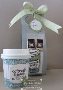 Stampin up perfect blend stamp set gift set. I am having fun again with the mini coffee cups.  This is a single serve holder and it would look great as a door hanger too!