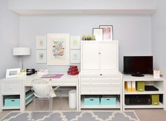 """The New Crafting Space. Martha Stewart standard file cabinet, 31.5 """" craft space table,  3 drawer flat file cabinet,  craft space storage hutch , and craft storage console. Available at Home Depot ."""