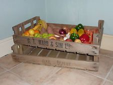 VINTAGE WOODEN APPLE CRATE FRUIT TRAY DISPLAY BOXES TRUG PLANTER SHABBY CHIC