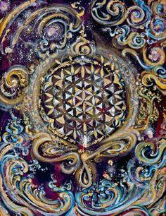 prints on steel Paintings seed space universe cosmic painting floweroflife waves sacred geometry energy flow gold