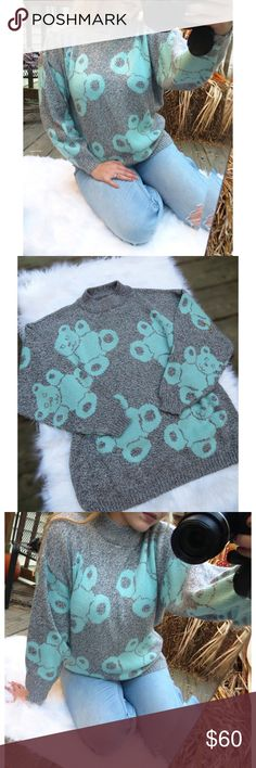 Vintage teddy bear sweater Absolutely adorable vintage teddy bear sweater! This sweater is nice & warm, and super cozy. Perfect for any wardrobe. This is for sure a one of a kind piece! Would best fit sizes XS - Medium. Sweater does have a few small marks as seen in last photo, but is not noticeable at all unless looking for it. In overall excellent condition! Not UO. Vintage Sweaters