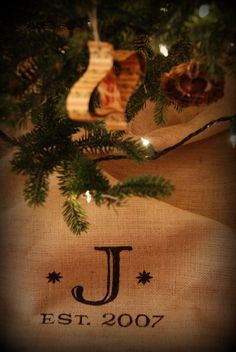 Monogrammed Burlap tree skirt