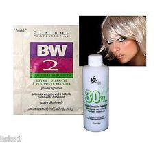 CLAIROL BW2 BLEACH POWDER HAIR LIGHTENER w/ 4oz. 30 VOL PEROXIDE DEVELOPER