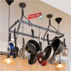 Enclume RACK IT UP! Expandable Rectangular Ceiling Hanging Pot Rack - this may actually work