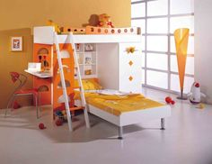 Bedroom Modern Torchiere Floor Lamp With Orange Desk Chair Design Also Wonderful Bunk Bed For Kids Share Your Kids Bedrooms with Adorable Bunk Bed Designs