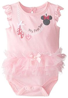 Disney Baby-Girls Newborn Minnie Mouse Creeper with Ruffles, Pink, 0-3 Months