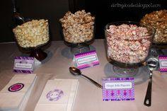 Gourmet popcorn bar for a wedding reception