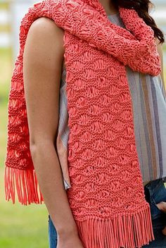 Free Knitting Pattern for Easy Wavy Drop-Stitch Scarf