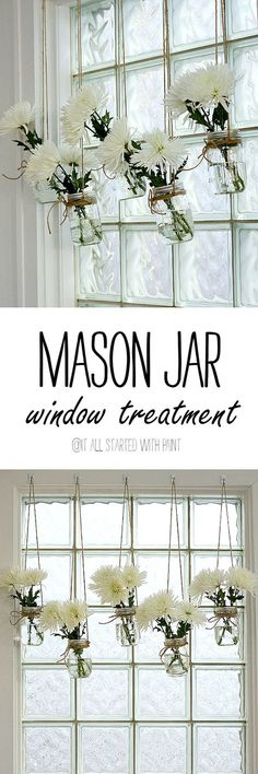 Window treatment ideas - spring decorating ideas - mason jar craft ideas- mason jar window treatment - @It All Started With Paint