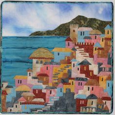 Happy Villages Workshop with Karen Eckmeier House Quilt Block, House Quilts, Landscape Art Quilts, Landscapes, Quilt Festival, Quilted Wall Hangings, Mini Quilts, Quilting Projects, Art Quilting