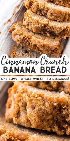 whole wheat cinnamon crunch banana bread is SO good! Made with whole wheat flour, healthy Greek yogurt, mashed banana, eggs and oil. The cinnamon streusel crunch topping is SO good. Great for a special breakfast treat that's still a little healthier. Desserts Sains, Köstliche Desserts, Dessert Recipes, Healthy Desserts, Cinnamon Desserts, Recipes Dinner, Healthy Recipes, Healthy Baked Snacks, Vegan Baking Recipes