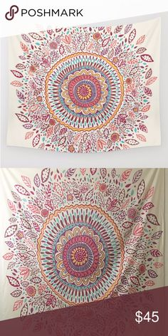"""Sunflower Mandala Tapestry Sunflower Mandala Wall Tapestry. Off-white background. Medium size, 68"""" x 80"""". In great condition, only marks are little push pin holes around the sides from hanging. Society 6 Other"""