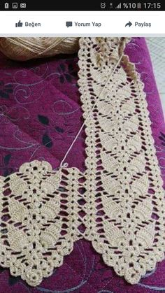 This Pin was discovered by Tül Crochet Bolero Pattern, Crochet Lace Edging, Crochet Stitches Patterns, Filet Crochet, Crochet Shawl, Crochet Hairband, Crochet Cord, Easy Crochet, Diy Crafts Crochet