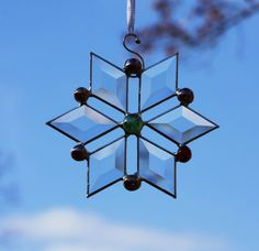 Red and Green Jewel Stained Glass Snowflake by stainedglassturtle, $26.50