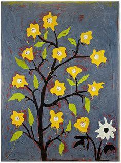 "John Randall Nelson, ""Yellow Perkies"", Mixed Media On Panel, 73 x 53 x 2 inches"
