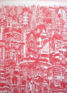 Alexis Duque - intricate city drawings results all over pattern