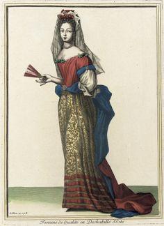 Recueil des modes de la cour de France, 'Femme de Qualité en Deshabillé d'Esté'  Jean LeBlond (France, active circa 1635-1709)  France, Paris, 1682, bound 1703-1704  Prints  Hand-colored engraving on paper