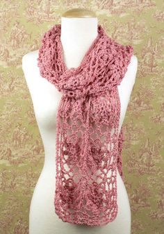 Lacy crochet scarf - free pattern - worked in squares and sewn together