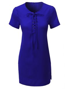 LE3NO Womens Short Sleeve Lace Up Front Tunic Dress