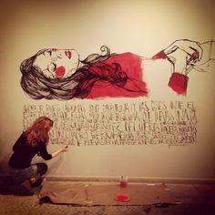mural casa de l'Oli Paula Bonet, Gravure, Illustration, Art Drawings, Art Photography, Artsy, Canvas, Crafts, Painting