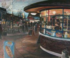 "https://flic.kr/p/7ngdqG | Hornsey Dusk, Turnpike Station  Painting |  24"" x ""20    SOLD."