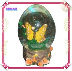 Polyresin Butterfly Snow Water Egg Shaped Ball Decoration Souvenirs