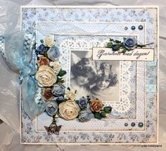 Pia have made this beautiful card using the blue papers from the Lykke-collection.