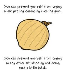 You can prevent yourself from crying while peeling onions by chewing gum. You can prevent yourself from crying in any other situation by not being a little bitch. Crying Meme, Stop Crying, Haha Funny, Funny Memes, Jokes, Funny Stuff, Funny Things, Random Things, Life Lessons