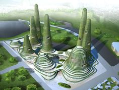 The new city center designed by Dutch architects MVRDV for Gwanggyo, a city coming up 35 kms from Seoul in South Korea